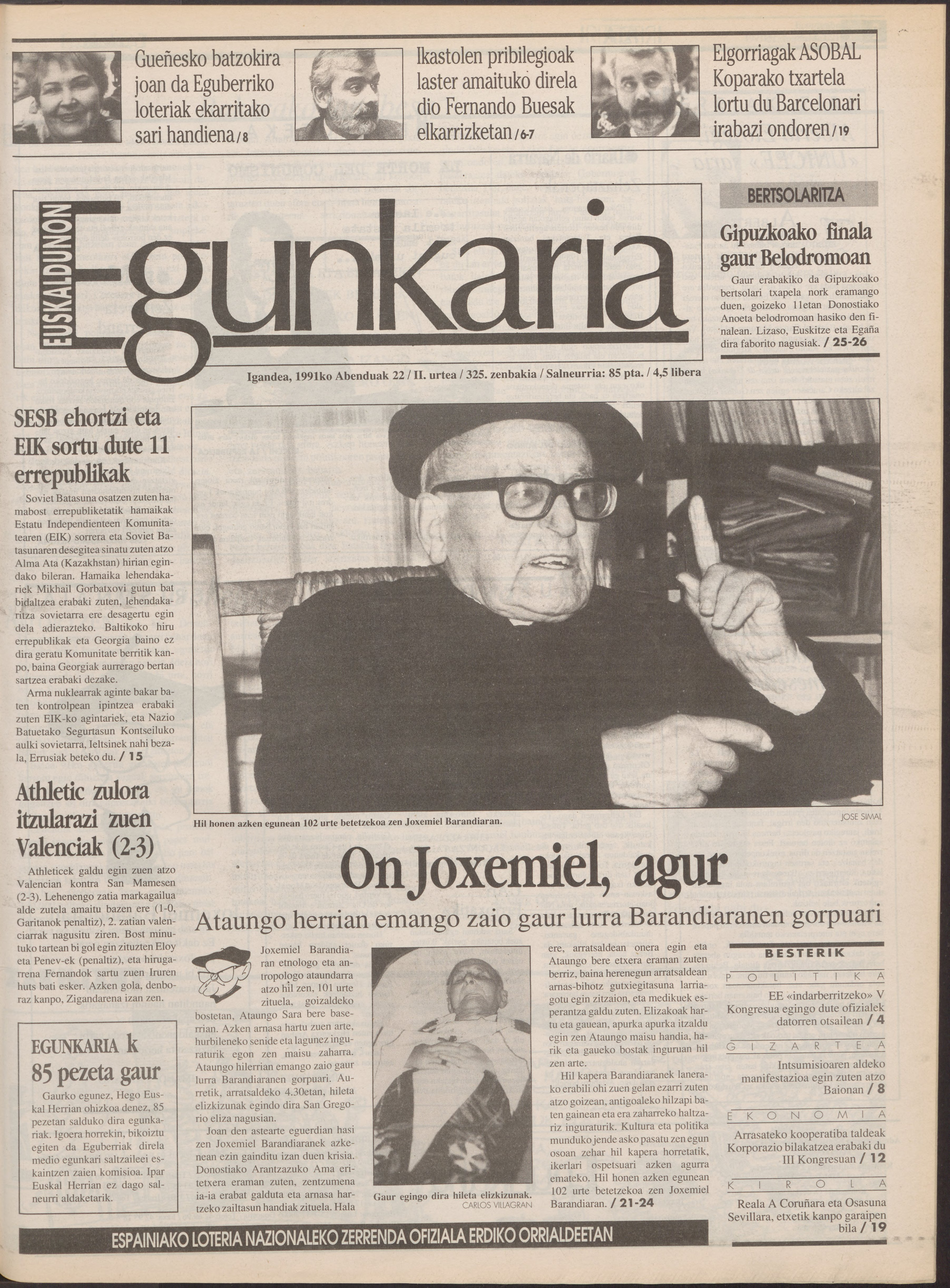 1991ko abenduak 22, 01. orrialdea