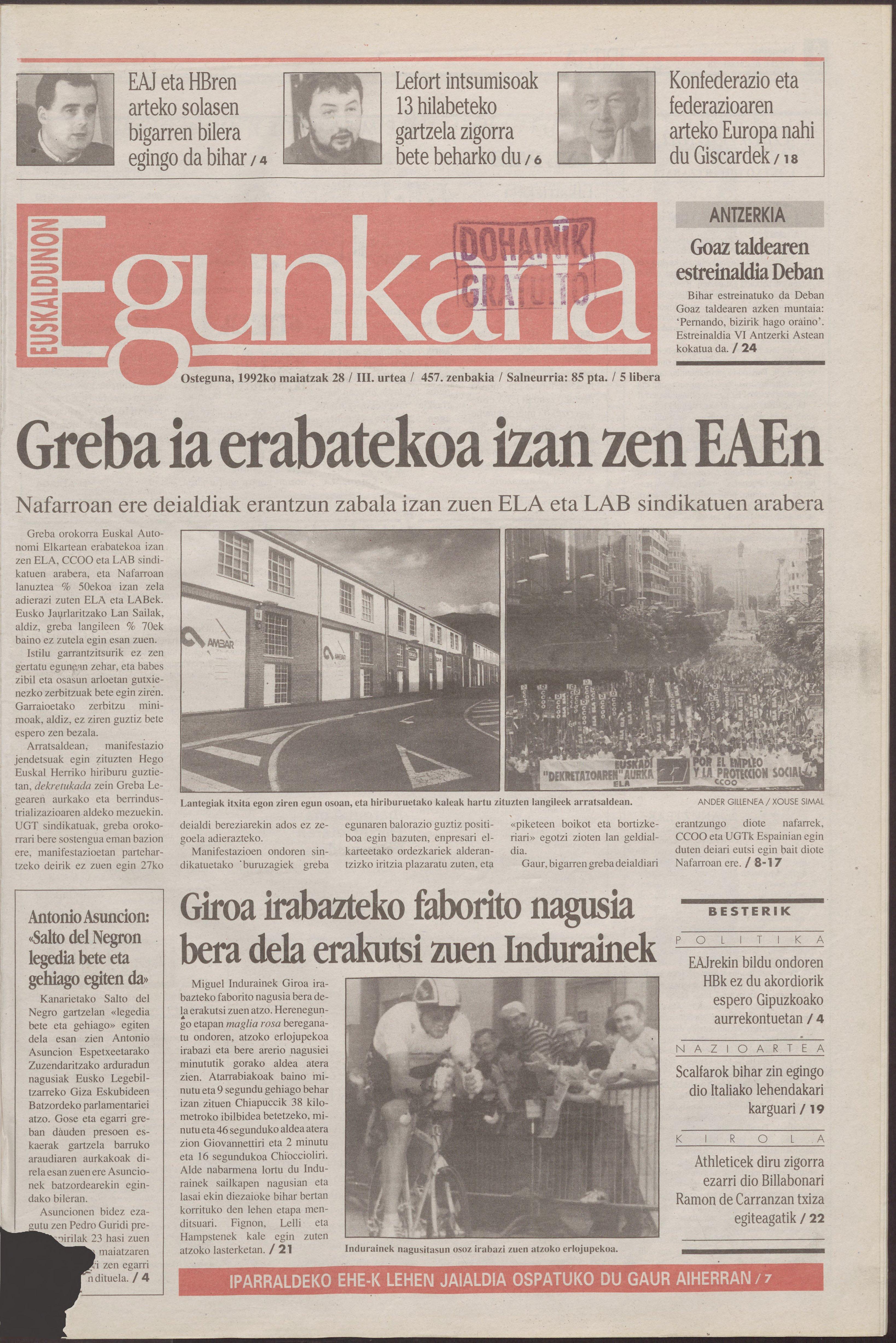 1992ko maiatzak 28, 01. orrialdea